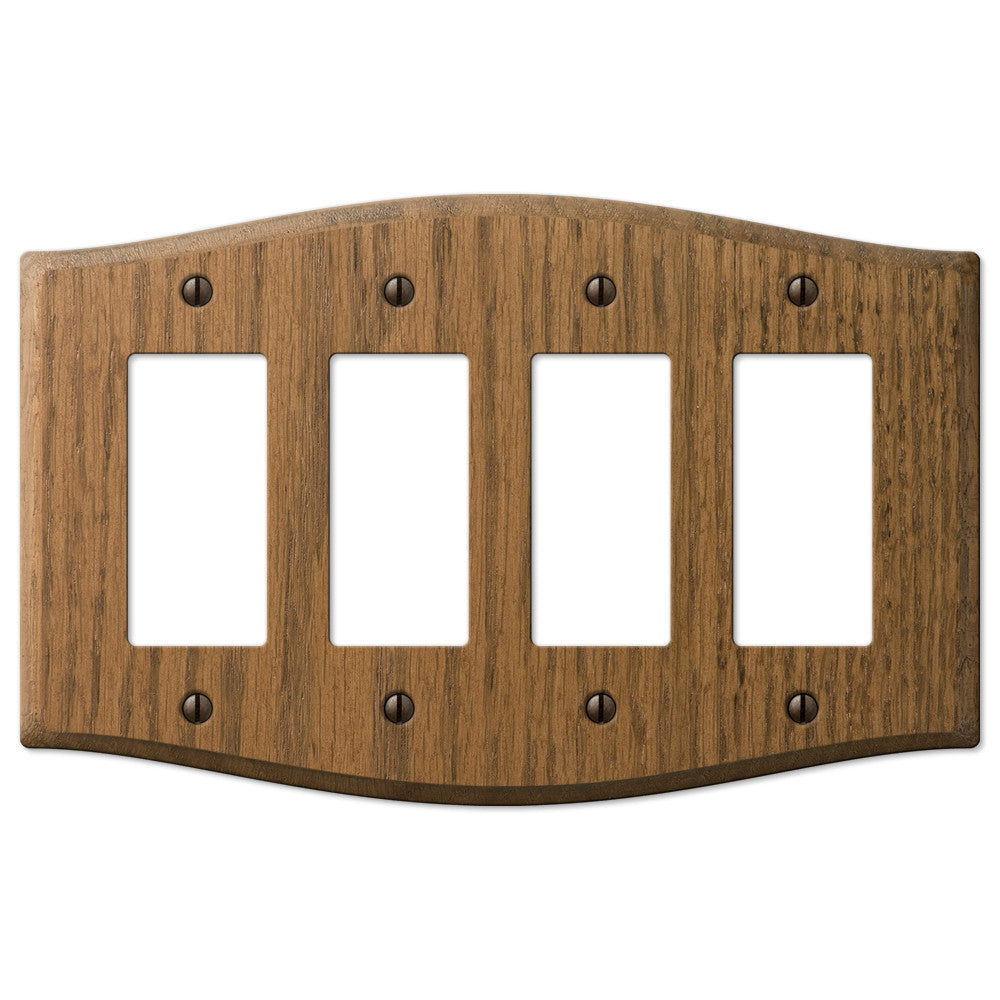 Country Medium Oak Wood - 4 Rocker Wallplate - Wallplate Warehouse
