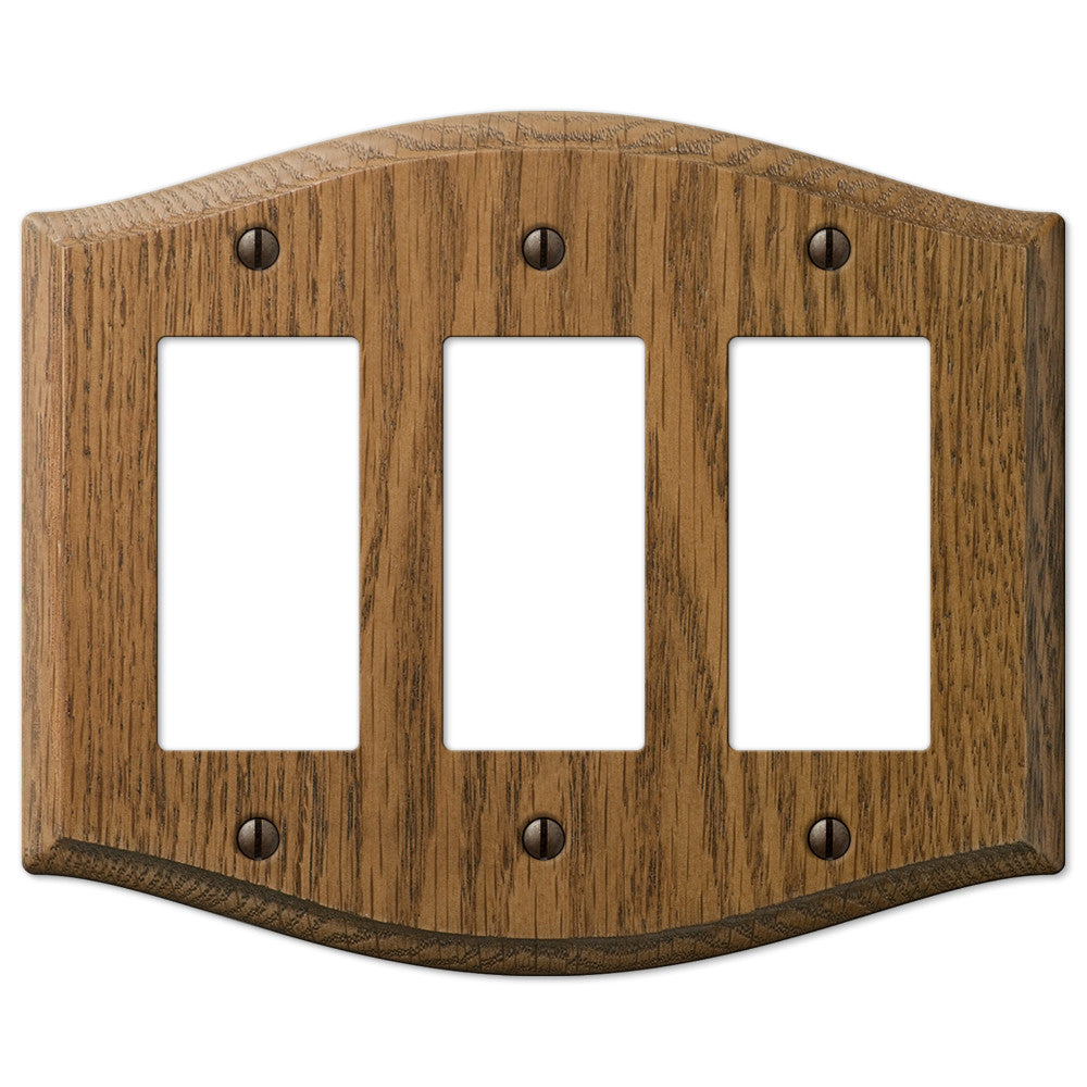 Country Medium Oak Wood - 3 Rocker Wallplate - Wallplate Warehouse