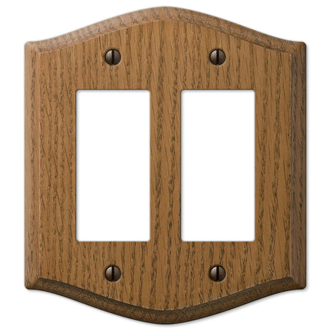 Country Medium Oak Wood - 2 Rocker Wallplate - Wallplate Warehouse