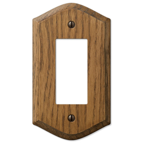 Country Medium Oak Wood - 1 Rocker Wallplate - Wallplate Warehouse