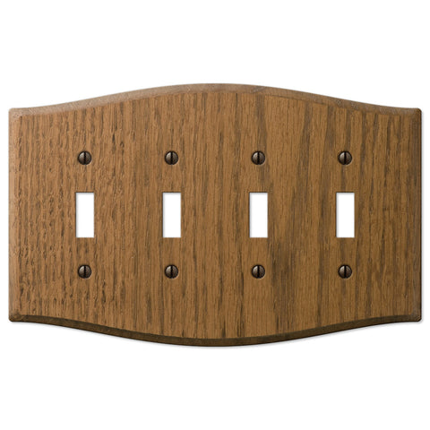 Country Medium Oak Wood - 4 Toggle Wallplate - Wallplate Warehouse