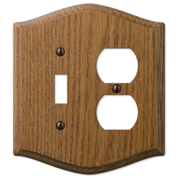 Country Medium Oak Wood - 1 Toggle / 1 Duplex Outlet Wallplate - Wallplate Warehouse