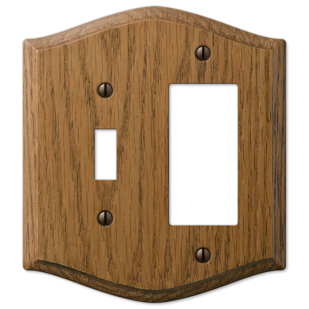 Country Medium Oak Wood - 1 Toggle / 1 Rocker Wallplate - Wallplate Warehouse