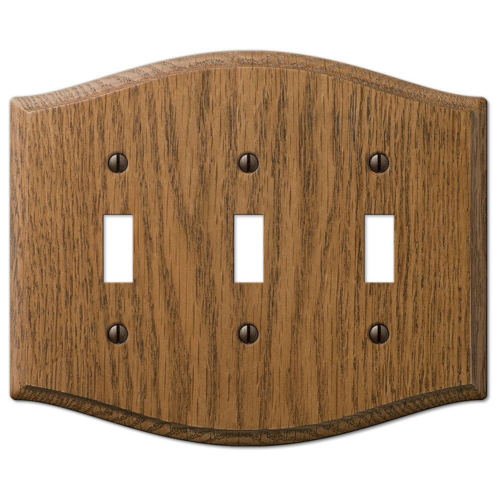 Country Medium Oak Wood - 3 Toggle Wallplate - Wallplate Warehouse