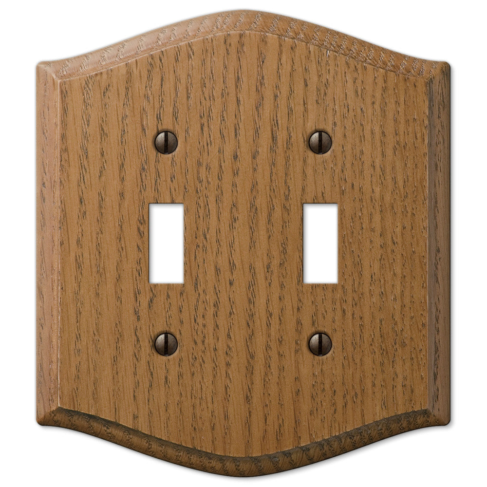 Country Medium Oak Wood - 2 Toggle Wallplate - Wallplate Warehouse