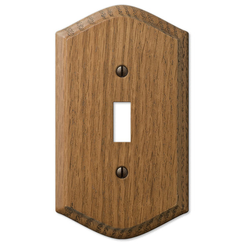 Country Medium Oak Wood - 1 Toggle Wallplate - Wallplate Warehouse