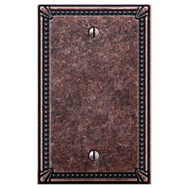 Imperial Bead Tumbled Aged Bronze Cast - 1 Blank Wallplate - Wallplate Warehouse