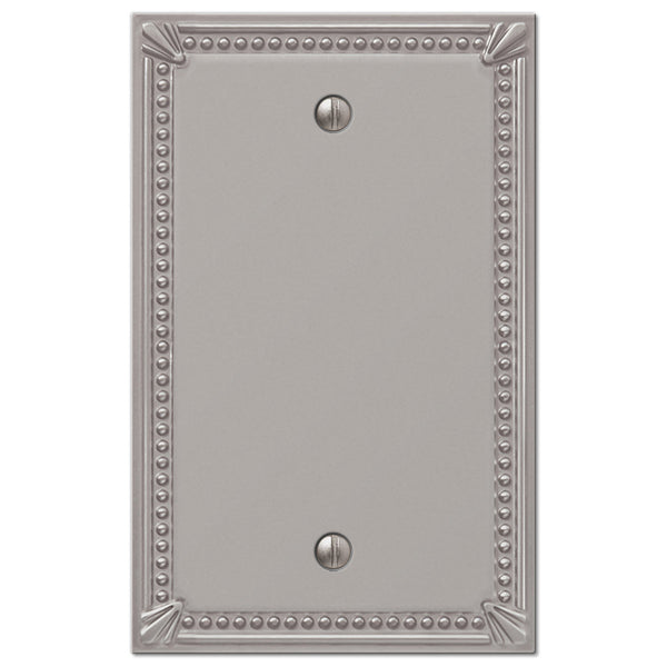 Imperial Bead Brushed Nickel Cast - 1 Blank Wallplate - Wallplate Warehouse