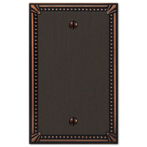 Imperial Bead Aged Bronze Cast - 1 Blank Wallplate - Wallplate Warehouse