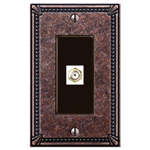 Imperial Bead Tumbled Aged Bronze Cast - 1 Cable Jack Wallplate - Wallplate Warehouse