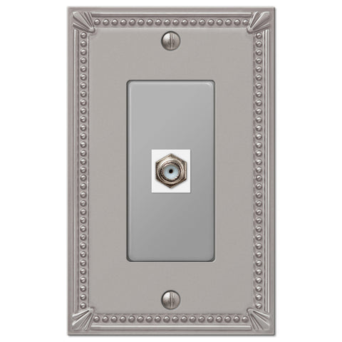 Imperial Bead Brushed Nickel Cast - 1 Cable Jack Wallplate - Wallplate Warehouse
