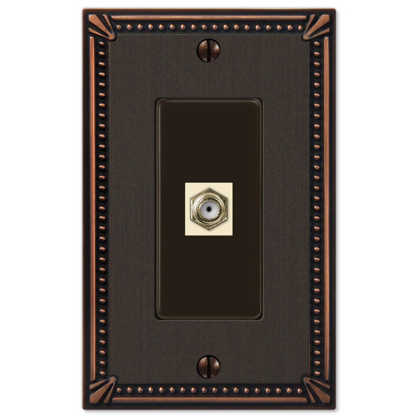 Imperial Bead Aged Bronze Cast - 1 Cable Jack Wallplate - Wallplate Warehouse