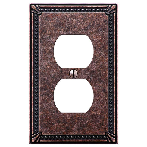 Imperial Bead Tumbled Aged Bronze Cast - 1 Duplex Outlet Wallplate - Wallplate Warehouse