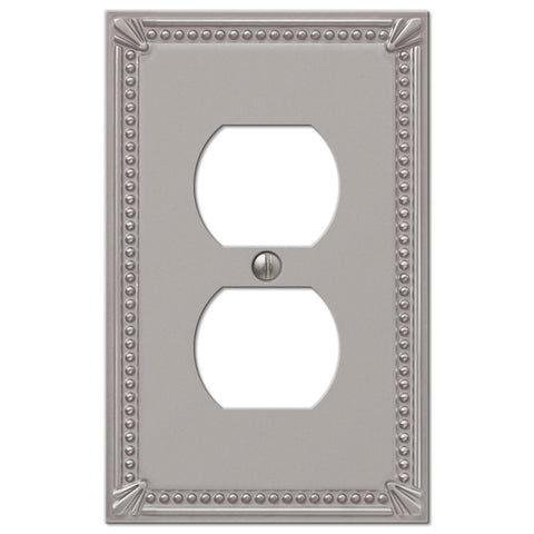 Imperial Bead Brushed Nickel Cast - 1 Duplex Outlet Wallplate - Wallplate Warehouse
