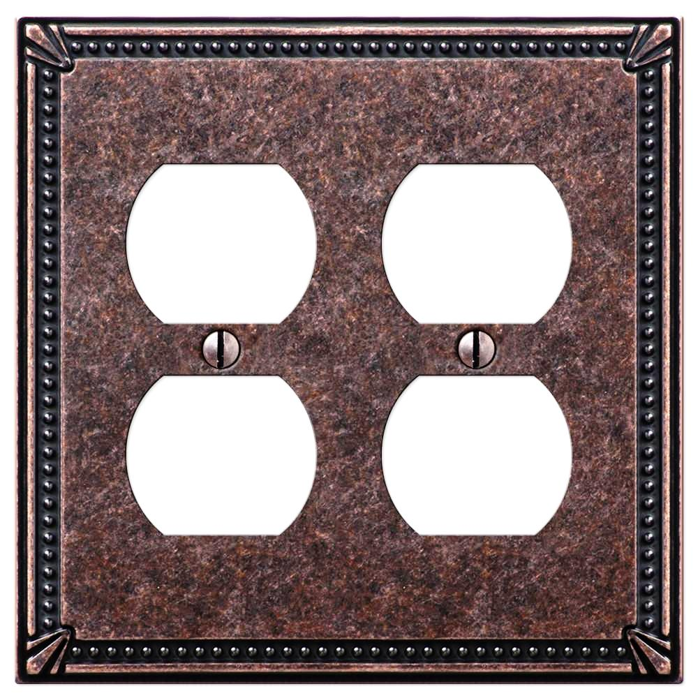 Imperial Bead Tumbled Aged Bronze Cast - 2 Duplex Outlet Wallplate - Wallplate Warehouse