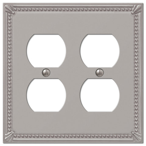 Imperial Bead Brushed Nickel Cast - 2 Duplex Outlet Wallplate - Wallplate Warehouse