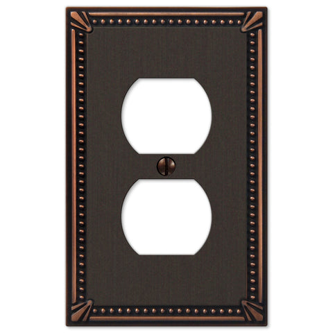 Imperial Bead Aged Bronze Cast - 1 Duplex Outlet Wallplate - Wallplate Warehouse