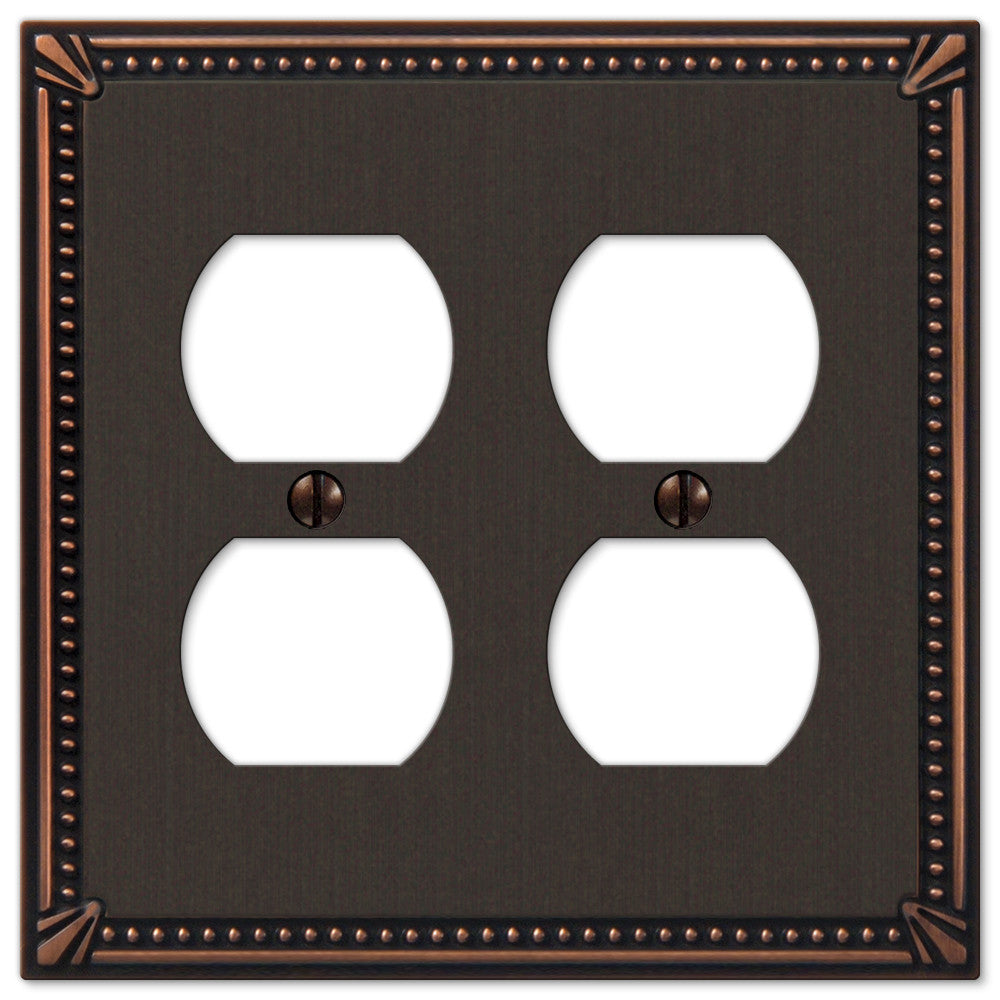 Imperial Bead Aged Bronze Cast - 2 Duplex Outlet Wallplate - Wallplate Warehouse