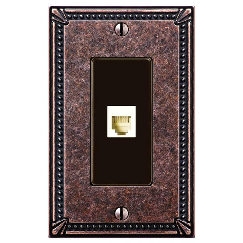 Imperial Bead Tumbled Aged Bronze Cast - 1 Phone Jack Wallplate - Wallplate Warehouse
