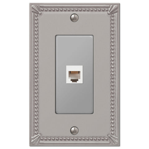 Imperial Bead Brushed Nickel Cast - 1 Phone Jack Wallplate - Wallplate Warehouse