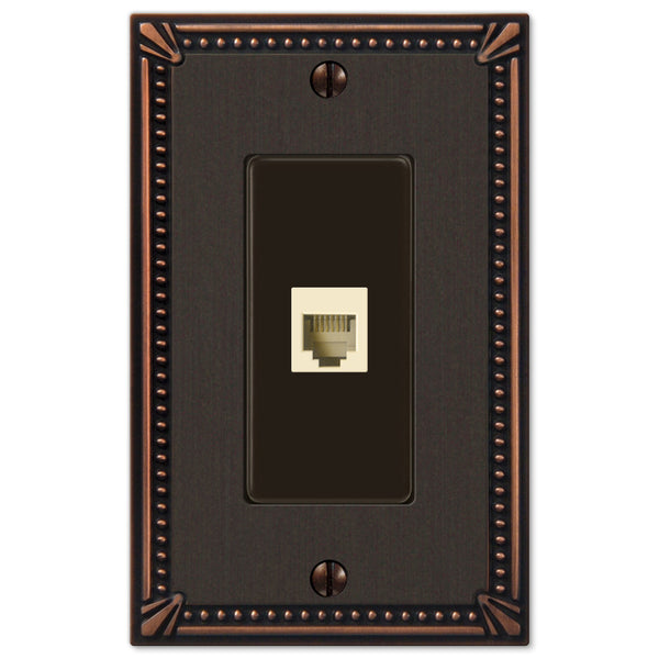 Imperial Bead Aged Bronze Cast - 1 Phone Jack Wallplate - Wallplate Warehouse