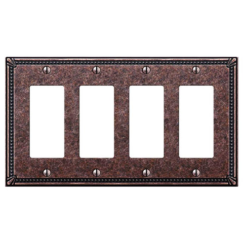 Imperial Bead Tumbled Aged Bronze Cast - 4 Rocker Wallplate - Wallplate Warehouse