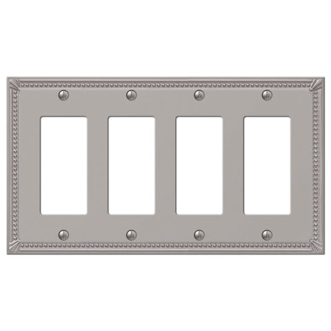Imperial Bead Brushed Nickel Cast - 4 Rocker Wallplate - Wallplate Warehouse