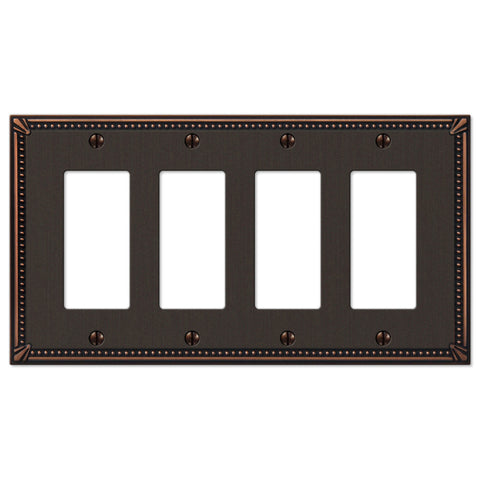 Imperial Bead Aged Bronze Cast - 4 Rocker Wallplate - Wallplate Warehouse