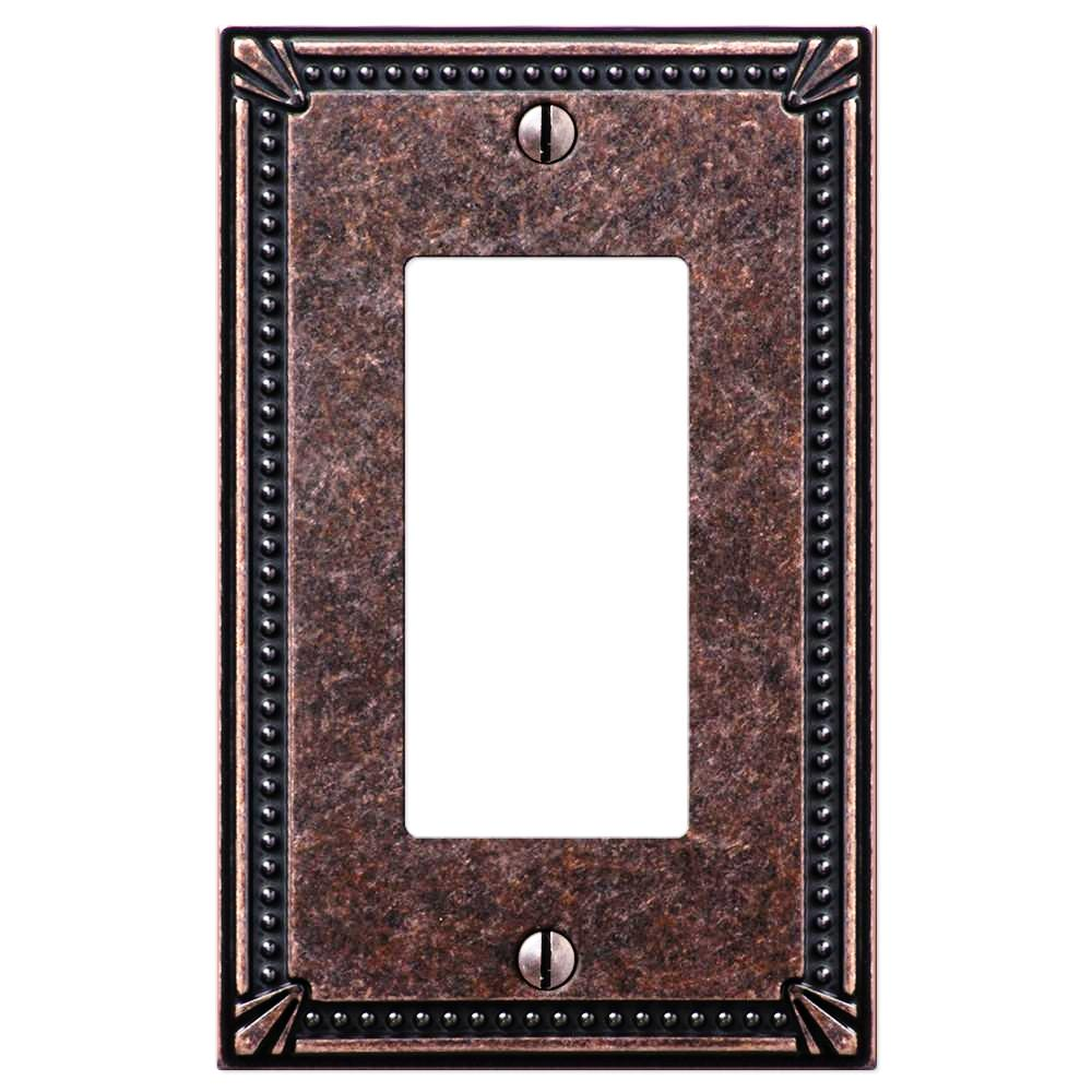 Imperial Bead Tumbled Aged Bronze Cast - 1 Rocker Wallplate - Wallplate Warehouse