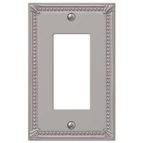 Imperial Bead Brushed Nickel Cast - 1 Rocker Wallplate - Wallplate Warehouse