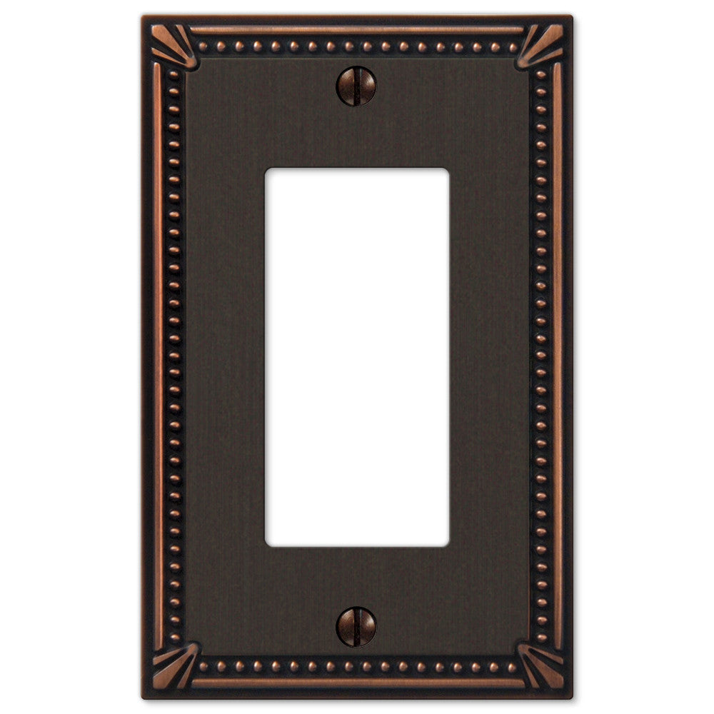 Imperial Bead Aged Bronze Cast - 1 Rocker Wallplate - Wallplate Warehouse