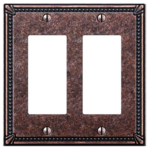 Imperial Bead Tumbled Aged Bronze Cast - 2 Rocker Wallplate - Wallplate Warehouse