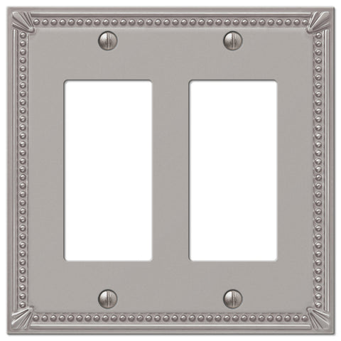 Imperial Bead Brushed Nickel Cast - 2 Rocker Wallplate - Wallplate Warehouse