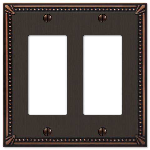 Imperial Bead Aged Bronze Cast - 2 Rocker Wallplate - Wallplate Warehouse