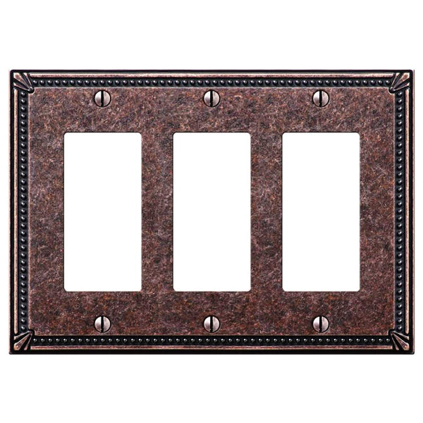 Imperial Bead Tumbled Aged Bronze Cast - 3 Rocker Wallplate - Wallplate Warehouse
