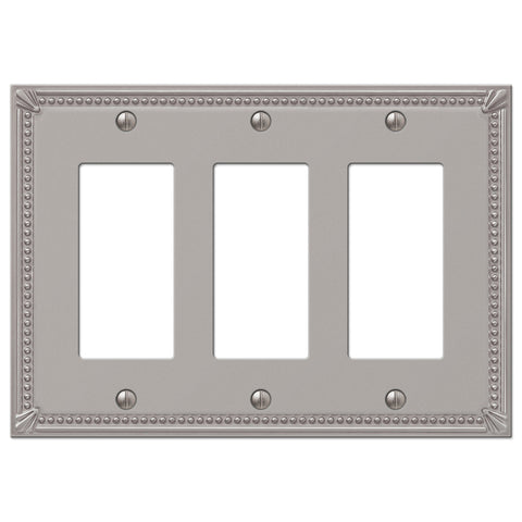 Imperial Bead Brushed Nickel Cast - 3 Rocker Wallplate - Wallplate Warehouse