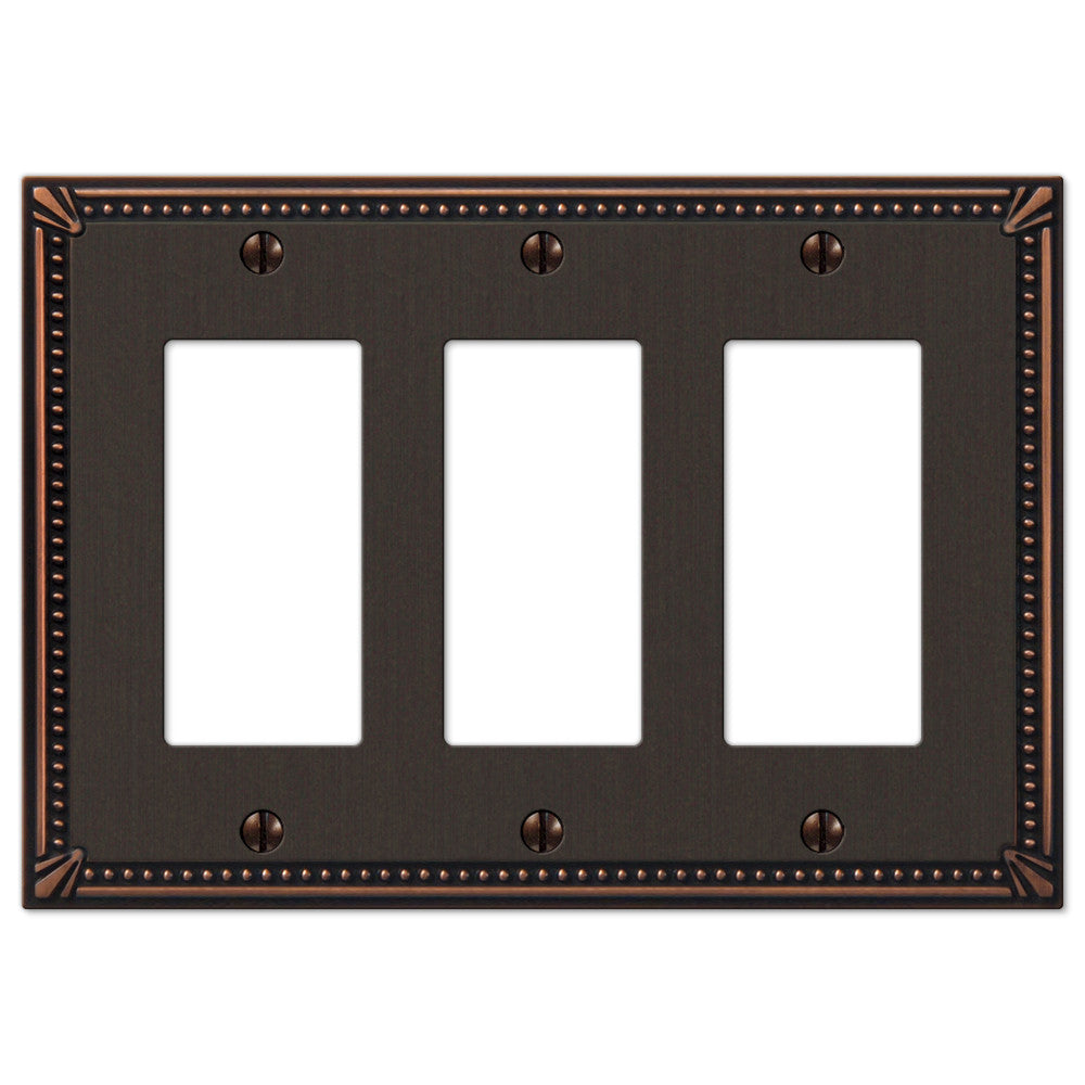 Imperial Bead Aged Bronze Cast - 3 Rocker Wallplate - Wallplate Warehouse