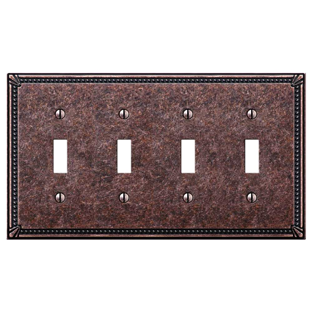 Imperial Bead Tumbled Aged Bronze Cast - 4 Toggle Wallplate - Wallplate Warehouse