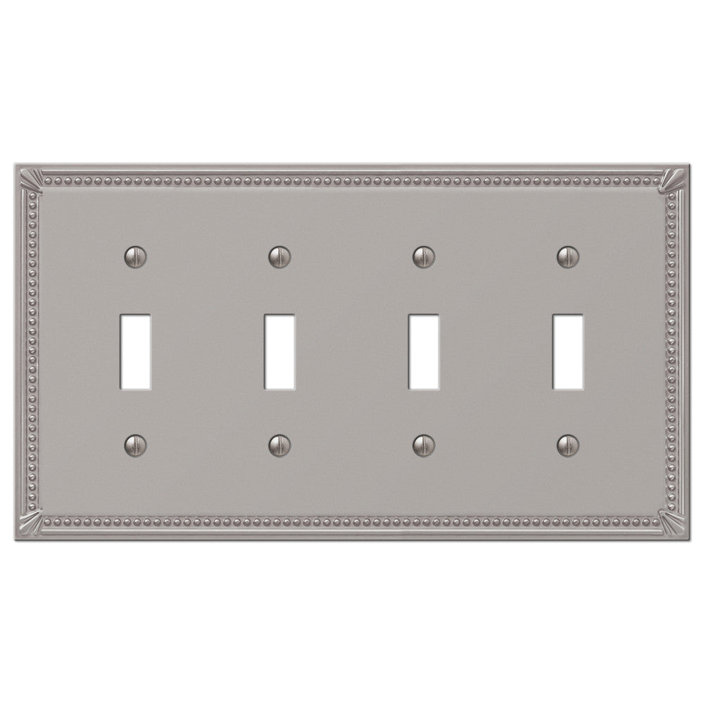 Imperial Bead Brushed Nickel Cast - 4 Toggle Wallplate - Wallplate Warehouse