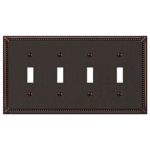 Imperial Bead Aged Bronze Cast - 4 Toggle Wallplate - Wallplate Warehouse