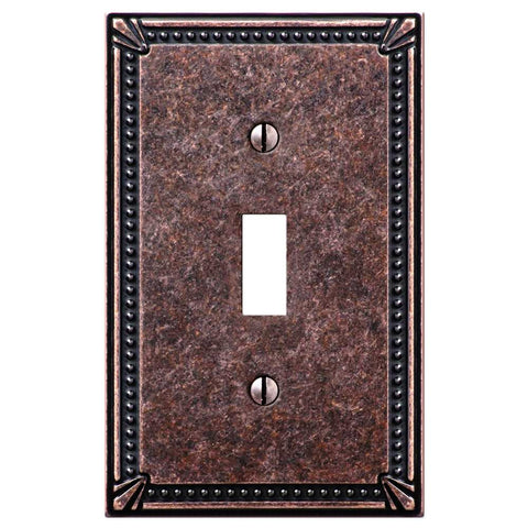 Imperial Bead Tumbled Aged Bronze Cast - 1 Toggle Wallplate - Wallplate Warehouse