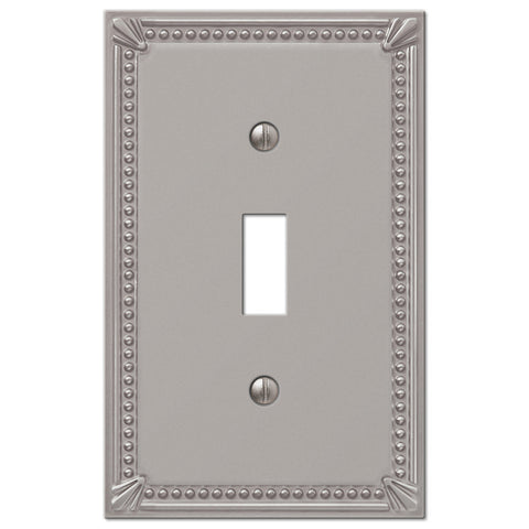 Imperial Bead Brushed Nickel Cast - 1 Toggle Wallplate - Wallplate Warehouse