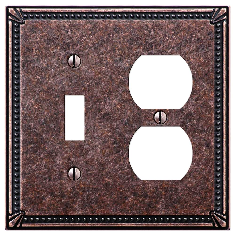 Imperial Bead Tumbled Aged Bronze Cast - 1 Toggle / 1 Duplex Outlet Wallplate - Wallplate Warehouse