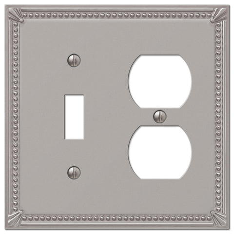 Imperial Bead Brushed Nickel Cast - 1 Toggle / 1 Duplex Outlet Wallplate - Wallplate Warehouse
