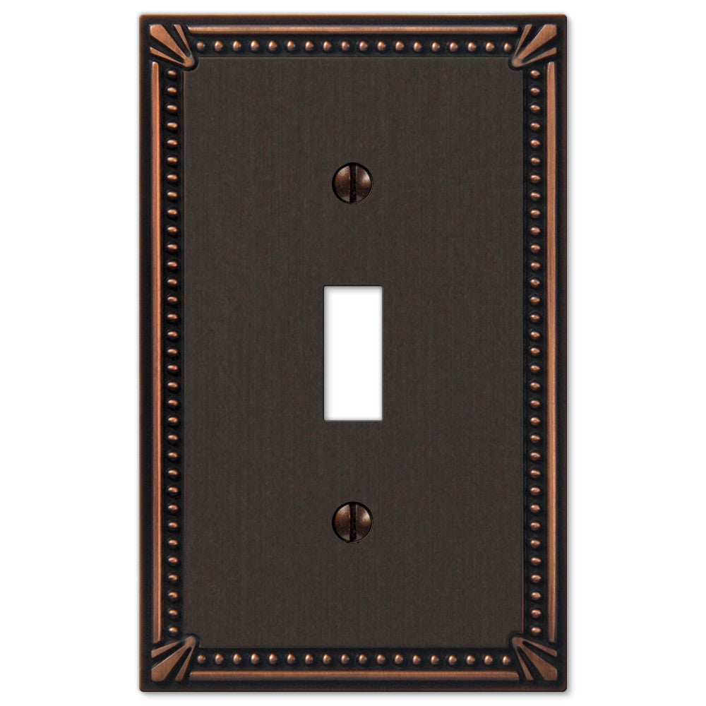 Imperial Bead Aged Bronze Cast - 1 Toggle Wallplate - Wallplate Warehouse