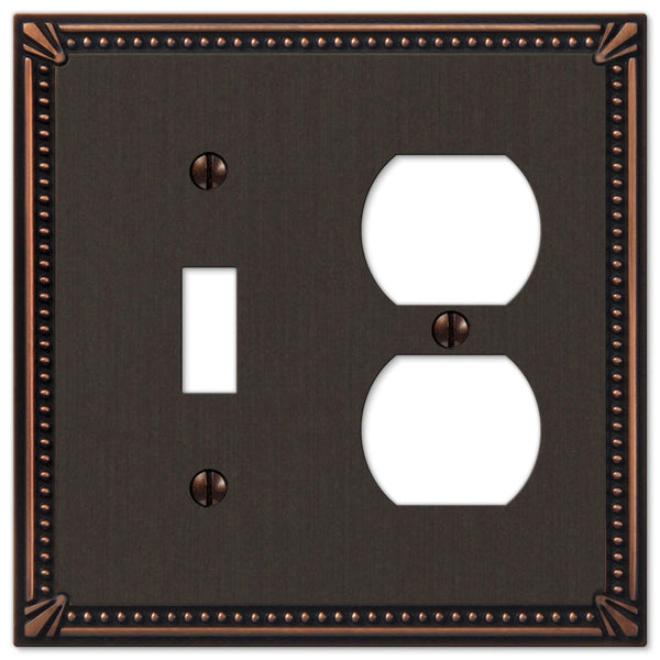 Imperial Bead Aged Bronze Cast - 1 Toggle / 1 Duplex Outlet Wallplate - Wallplate Warehouse