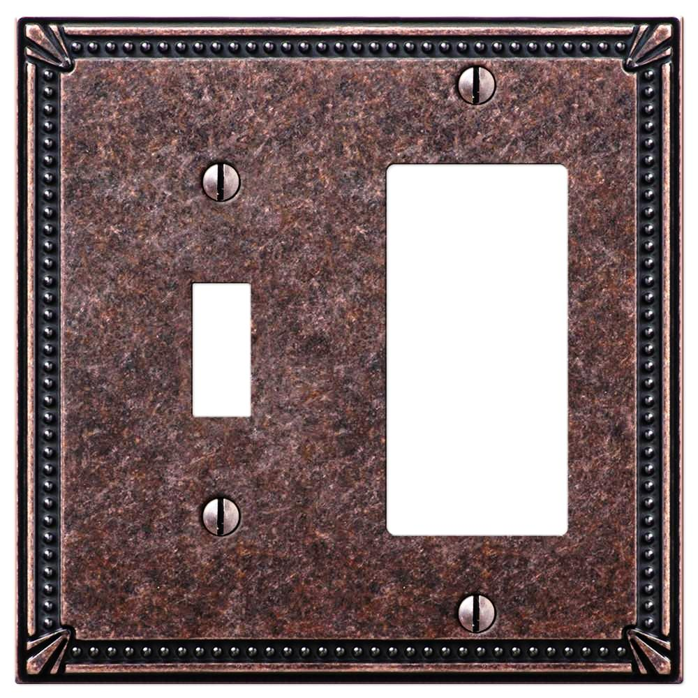 Imperial Bead Tumbled Aged Bronze Cast - 1 Toggle / 1 Rocker Wallplate - Wallplate Warehouse