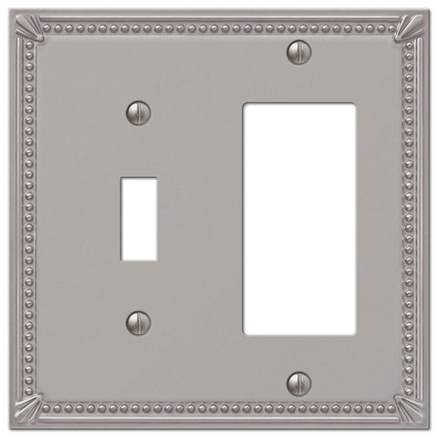 Imperial Bead Brushed Nickel Cast - 1 Toggle / 1 Rocker Wallplate - Wallplate Warehouse