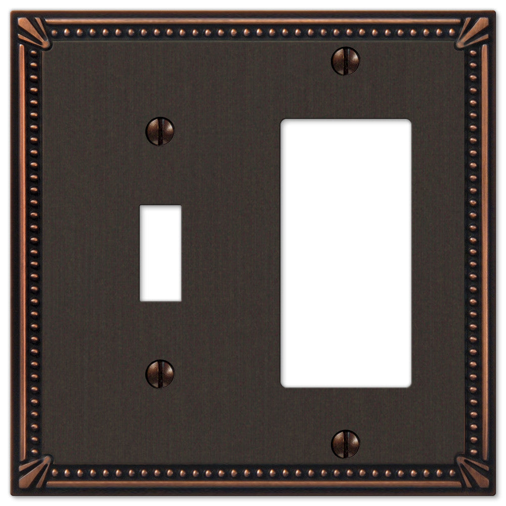 Imperial Bead Aged Bronze Cast - 1 Toggle / 1 Rocker Wallplate - Wallplate Warehouse