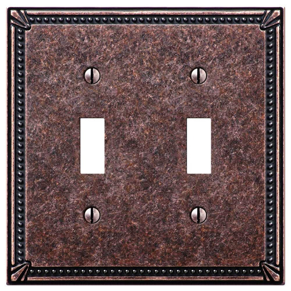Imperial Bead Tumbled Aged Bronze Cast - 2 Toggle Wallplate - Wallplate Warehouse